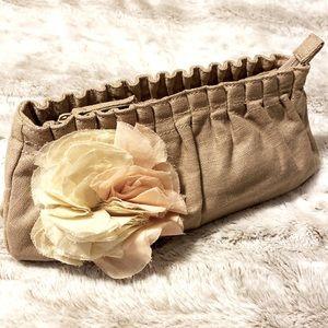 Old Navy purse clutch linen tan floral NWOT